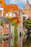Classic view of channels of Bruges Stock Photos