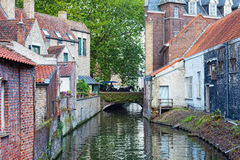 Classic view of channels of Bruges Stock Image