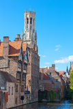Classic view of channels of Bruges. Stock Photo