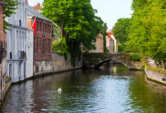 Classic view of channels of Bruges. Belgium. Stock Images