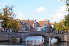 Classic view of channels of Bruges. Belgium Royalty Free Stock Photography