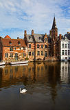 Classic view of channels of Bruges. Belgium. Royalty Free Stock Image