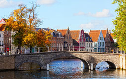 Classic view of channels of Bruges Stock Images