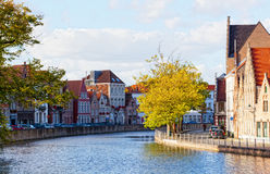 Classic view of channels of Bruges. Royalty Free Stock Photos