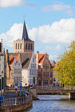 Classic view of channels of Bruges. Stock Images