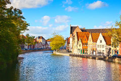 Colourful old houses reflected on water at Brugge - Belgium Royalty Free Stock Photos