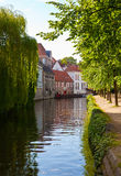 Classic view of channels of Bruges. Belgium. Royalty Free Stock Images