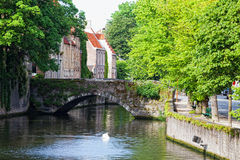 Classic view of channels of Bruges. Stock Photography