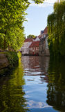 Classic view of channels of Bruges. Belgium. Stock Image