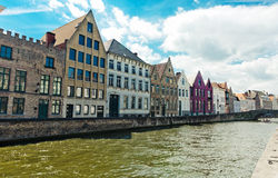 Classic view of channels of Bruges. Belgium Royalty Free Stock Images