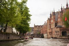Classic view of channels Bruges stock images
