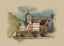 Classic view of channels of Bruges. Watercolor sketch Stock Illustration