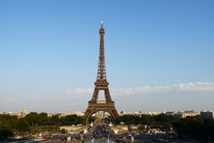 Classic view of eiffel tower in paris. Eiffel tower in paris, wide view Royalty Free Stock Photos
