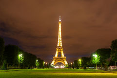Classic view of Eiffel tower up the Champ de Mars Stock Photo