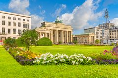 Pariser Platz with Brandenburg Gate, Berlin, Germany. Classic view of famous Brandenburg Gate at Pariser Platz, one of the best-known landmarks and national royalty free stock images