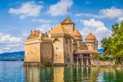 Chateau de Chillon at Lake Geneva, Canton of Vaud, Switzerland. Classic view of famous Chateau de Chillon at beautiful Lake Geneva, one of Switzerland`s major stock image