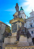 Classic view of famous Maria Immaculata sculpture at Domplatz square. On a sunny day with blue sky in summer stock image