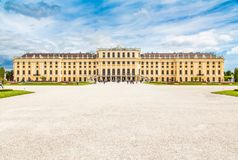 Classic view of famous Schonbrunn Palace, Vienna, Austria stock photo