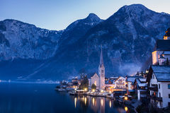 Classic View of Hallstatt Village, Austria. The classic view in the winter night of historical village Hallstatt, Austria Stock Images