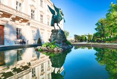 Classic view of the historic city of Salzburg with Salzburg Cath Stock Photography