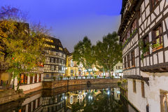 Classic view La Petite France at dusk time,Alsace Royalty Free Stock Photos