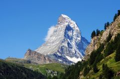 Classic view of the Matterhorn. From Zermatt, the Canton of Valais, Switzerland royalty free stock images