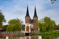 Classic view on old Delft, Netherlands Stock Images