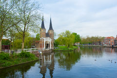Classic view on old Delft, Netherlands Royalty Free Stock Photos