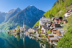 Classic view over Hallstatt in the morning in summer, Salzkammergut Royalty Free Stock Photography