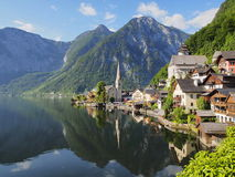 Classic view over Hallstatt morning in summer royalty free stock image