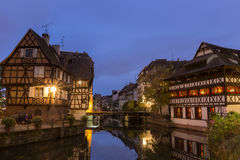 Classic view in petite France  ,Strasbourg at dusk Royalty Free Stock Images