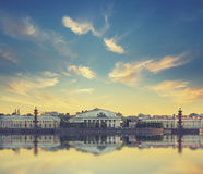 Classic view of Saint-Petersburg river scape at sunset Royalty Free Stock Photo