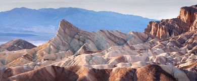 Classic view of Zabriskie Point, Death Valley. Horizontal stock photo