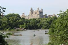 Classic views of New York from Lake Central Park, in summer royalty free stock photography