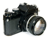 Classic vintage 35mm film SLR camera. Old and classic vintage 35mm manual focus film SLR camera Stock Photo
