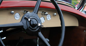 Classic vintage american car interior. Dashboard dials from a 1930s Chrysler convertible Royalty Free Stock Image