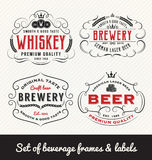 Classic Vintage Beverage Frame and Labels Royalty Free Stock Images