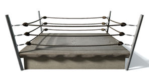 Classic Vintage Boxing Ring. An old vintage boxing ring surrounded by ropes on an isolated white background Royalty Free Stock Photos