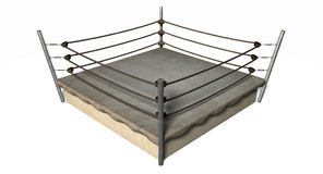 Classic Vintage Boxing Ring. An old vintage boxing ring surrounded by ropes on an isolated white background Stock Photography