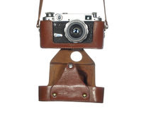 Classic vintage camera in a leather cover Royalty Free Stock Photography