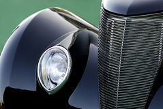 Classic Vintage Car in Black: Abstract Royalty Free Stock Photo