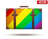 Classic vintage luggage suitcase for travel in. Rainbow color. Vector Illustration. Isolated on white background Royalty Free Stock Photo