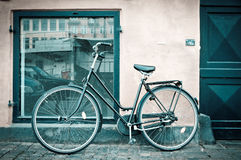 Classic vintage retro city bicycle in Copenhagen Stock Images