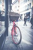 Classic vintage retro city bicycle in Copenhagen, Denmark.  Royalty Free Stock Image