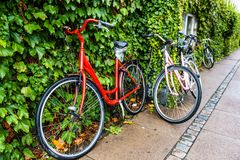 Classic vintage retro city bicycle in Copenhagen, Denmark Royalty Free Stock Photos