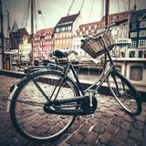 Classic vintage retro city bicycle in Copenhagen, Denmark.  Stock Images