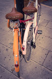 Classic vintage retro city bicycle Stock Images