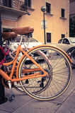 Classic vintage retro city bicycle Stock Photography