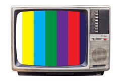 Free Classic Vintage Retro Style Old Television With NTSC Tv Pattern Signal Royalty Free Stock Images - 174727099