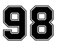 98 Classic Vintage Sport Jersey Number in black number on white background for american football, baseball or basketball royalty free illustration